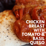 pinterest image for chicken breast with tomato and basil queso