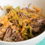 You will love this slow cooker (Crockpot) recipe for Cheese Steak and Peppers! I'm sure you can also use your Instant Pot, though I haven't tested it yet myself. Packed with protein and flavor but lower fat than traditional cheesesteak. Perfect for Gastric Sleeve or Bypass patients! #wlsrecipes #wlsinstantpot #wlscrockpot #gastricsleeve #gastricbypass