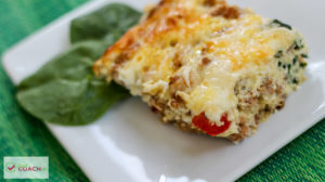 Spinach Pesto and Chicken Sausage Egg Bake | Bariatric Breakfast | FoodCoach.Me