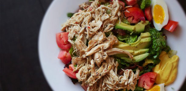 Bariatric Surgery Recipes - Club Salad with Pulled Chicken
