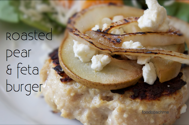 Roasted Pear and Feta Burger. Low Carb Bariatric Recipe