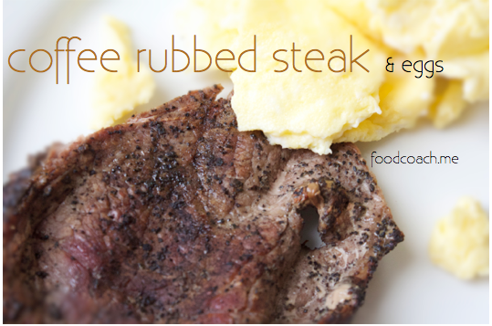 Coffee Rubbed Steak with Eggs. Packed with Protein for postop bariatric surgery patients!