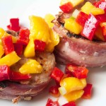 Bacon Wrapped Pork with Mango Salsa. Full of flavor and perfect after weight loss surgery!