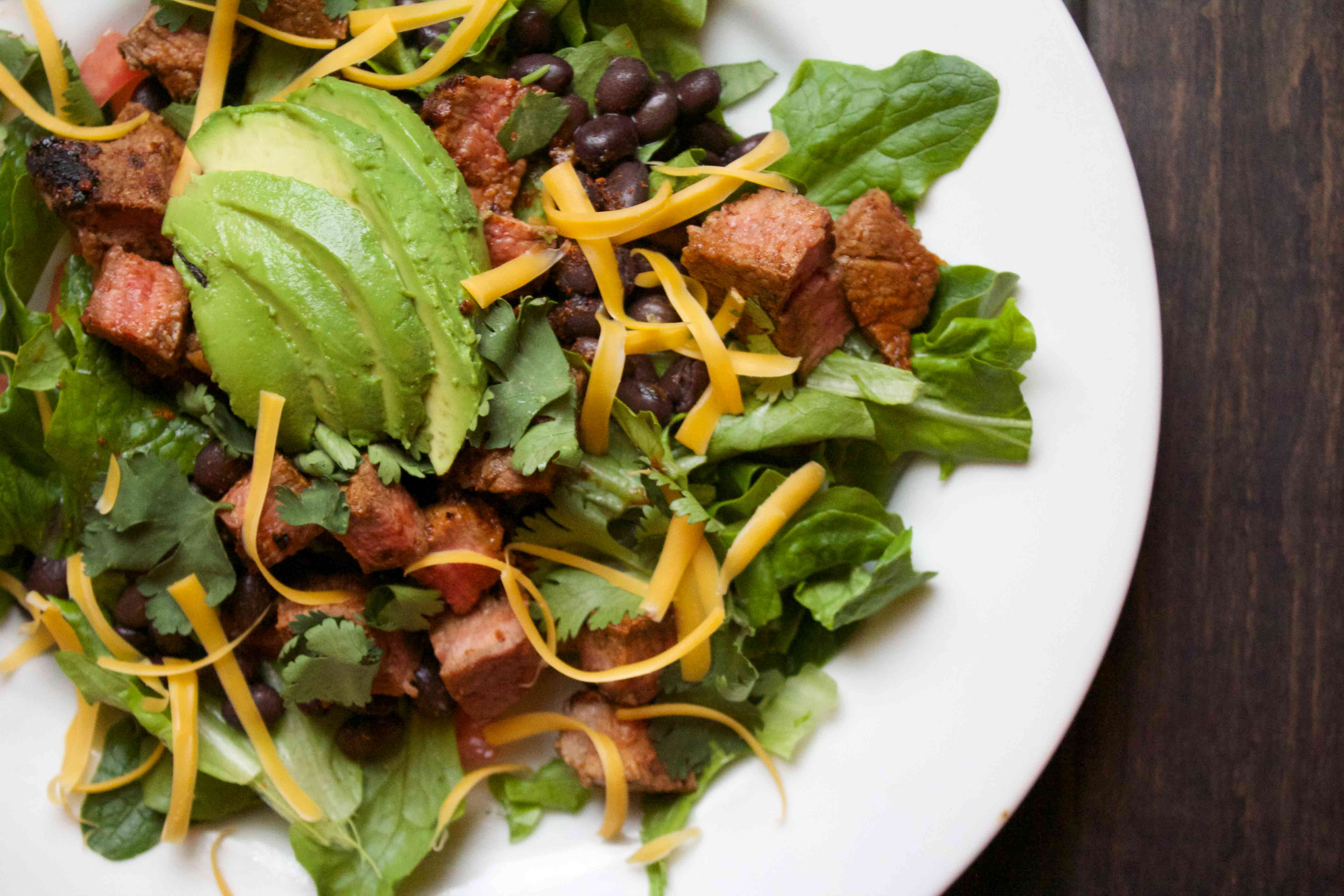 Chipotle Steak Salad. Very filling and full of flavor! Low carb recipes at www.foodcoach.me