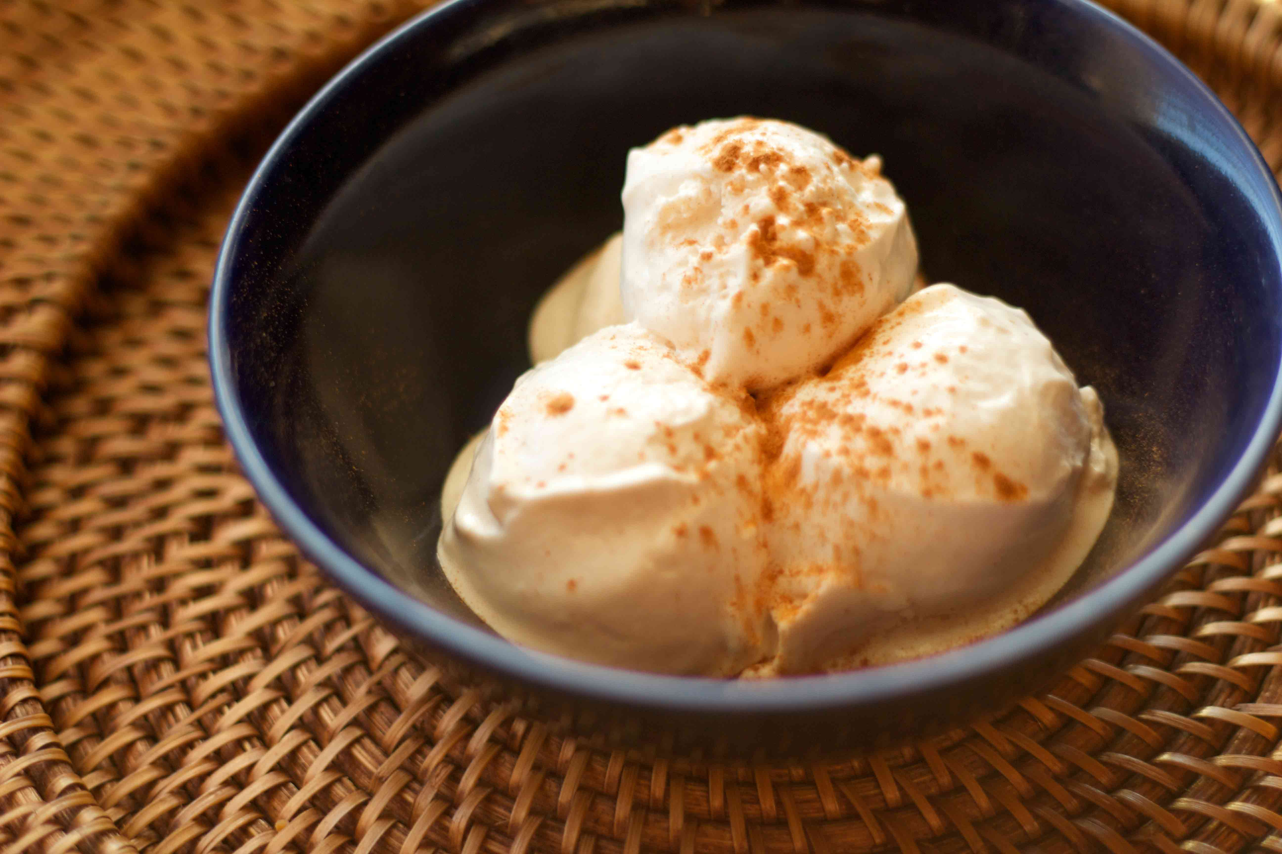Cinnamon Protein Ice Cream! Uses Greek Yogurt and sugar-free syrups to cut big time on sugar and carbs. Great after weight-loss surgery!