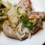 Pork Chops with Onions and Poblano Peppers. Love this! Low carb and weight loss surgery approved recipes at www.foodcoach.me