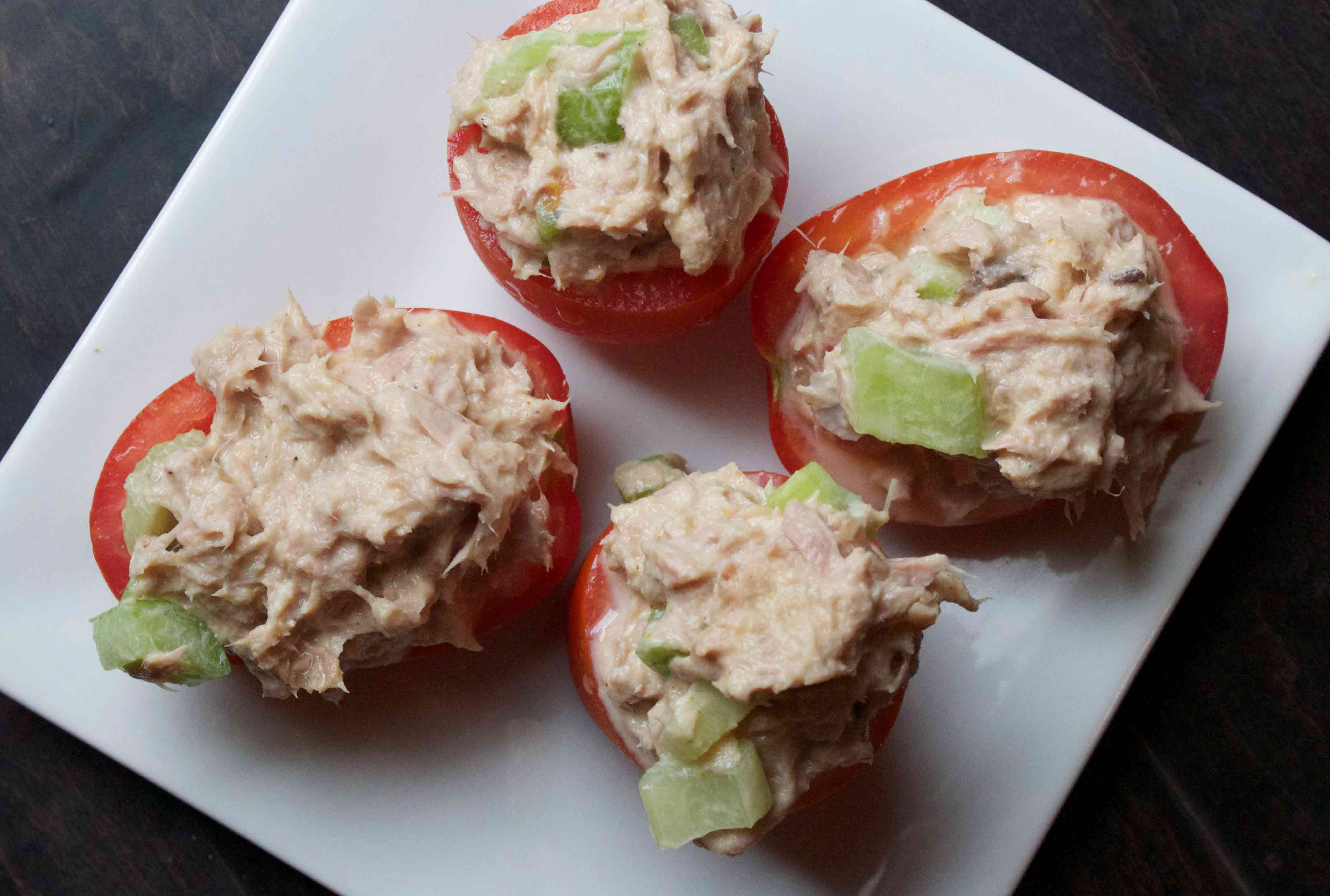 Tuna Salad Stuffed Tomaotes. Low Carb lunches!