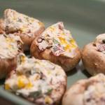 Turkey Bacon Stuffed Mushrooms. Low carb appetizer!