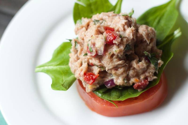Tuscan Tuna Salad - Low Carb and Bariatric Friendly Recipe. Great for lunch or if you need to be on a softer diet (omit some veggies)