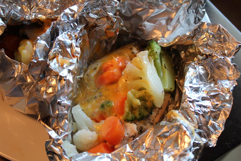 Chicken with Cheesy Veggies Foil Pack