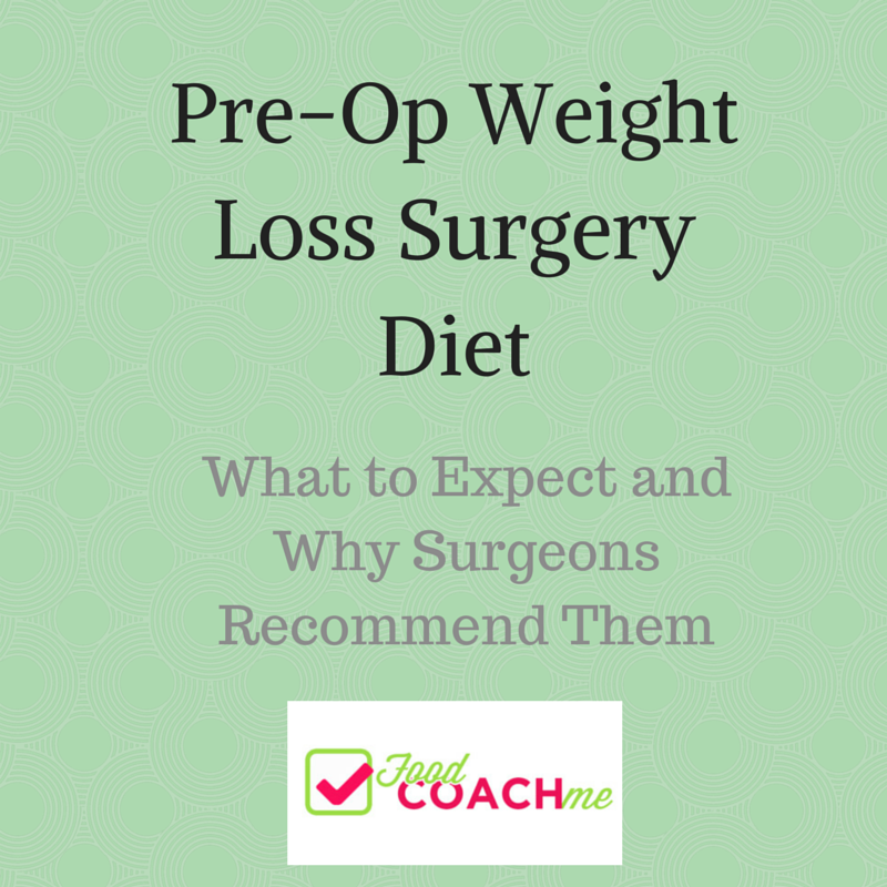 Pre-Op Weight Loss Surgery Diets. How to lose weight before surgery and why it's important. www.foodcoach.me