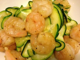 Garlic Shrimp with Zucchini Noodles - Low Carb Bariatric Meal