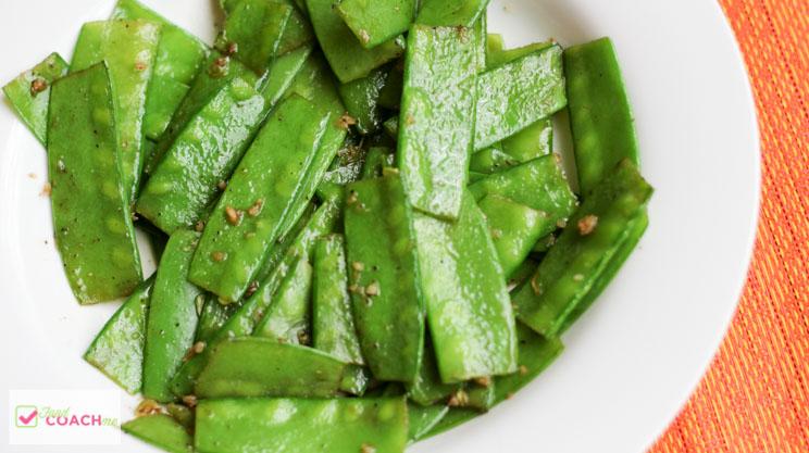 Sautéed Garlic Snow Peas (the lowest starch pea)