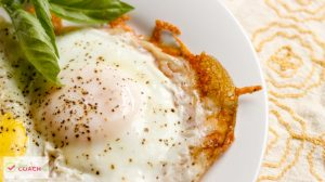 """WLS Recipe """"Fried"""" Eggs on Parmesan Crust - great texture with no oil! Eggs get old after bariatric surgery it helps to have varieties of ways to cook them! #gastricsleeverecipes #gastricbypassrecipes #wlsbreakfast #vsg #rny #ds"""