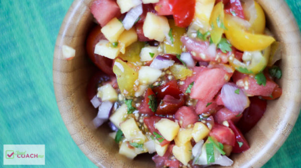 It is amazing what a fun TOPPING can do to liven up your protein! After weight loss surgery, chicken, beef, pork and fish can get boring. It doesn't have to be! Keep it exciting with a fresh tropical tomato salsa! #wls #wlsrecipes #vsg #rny #gastricbypassrecipes #gastricsleeverecipes
