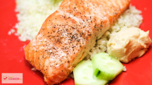 Dairy Free AND Bariatric Surgery Friendly! I love the flavors of this fresh salmon, hummus and cauliflower rice with fresh dill. Easy to put together and packed with protein! #gastricsleeve #gastricbypass #wls #bariatrcrecipes #dairyfree