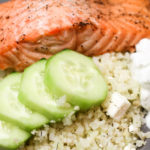 Cauliflower Rice Salmon Bowl with Feta Yogurt Dip | FoodCoach.Me | WLS Recipes