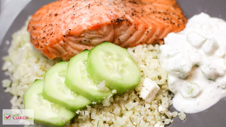 Cauliflower Rice Salmon Bowl with Feta Yogurt Dip | FoodCoach.Me | WLS Recipes