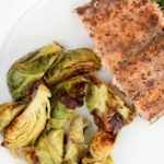 Sheet Pan Salmon and Brussel Sprouts   Bariatric Surgery Recipes   FoodCoach.Me
