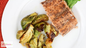 Sheet Pan Salmon and Brussel Sprouts | Bariatric Surgery Recipes | FoodCoach.Me