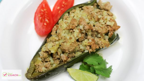 Salsa Verde Stuffed Poblano Peppers | Gastric Sleeve Recipes | FoodCoach.Me