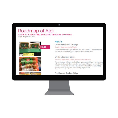 Roadmap of Aldi a bariatric grocery shopping resource for patients after gastric sleeve or bypass shopping at Aldi Grocery Stores