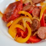 If you are looking for a little more spice in your post-op Gastric Sleeve or Bypass diet, you need to try this easy sheet pan dinner for Creole Turkey Sausage and Peppers! High in protein, very filling and so flavorful. #gastricsleeverecipes #gastricbypassrecipes #spicyfood #sheetpandinner #wlsrecipes