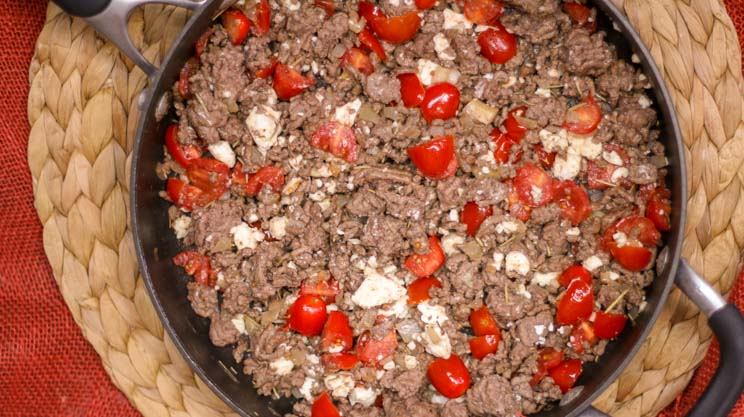 I love the fragrance and taste of this rosemary and tomato beef skillet. Topped with feta cheese crumbles it brings so much flavor to the Gastric Sleeve or Bypass diet! #wlsrecipes #gastricbypassrecipes #gastricsleeverecipes #bariatric
