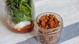 Super simple taco salad that can be made in advance and packed for lunches in a mason jar! I keep the meat separate so I can heat it up and add it all together. Great for bariatric lunches. #bariatriclunch #wlslunch #gastricsleevelunch #gastricbypasslunch #saladinajar