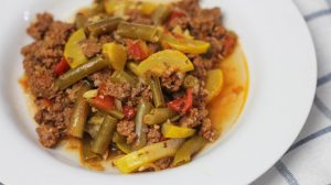 Beef Soup with green beans and squash made in an Instant Pot for bariatric surgery patients