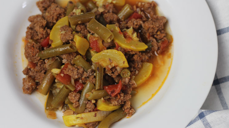 Sunday Beef Stoup thick like chili with texture of soup. Ground beef, fresh vegetables, low carb, bariatric friendly