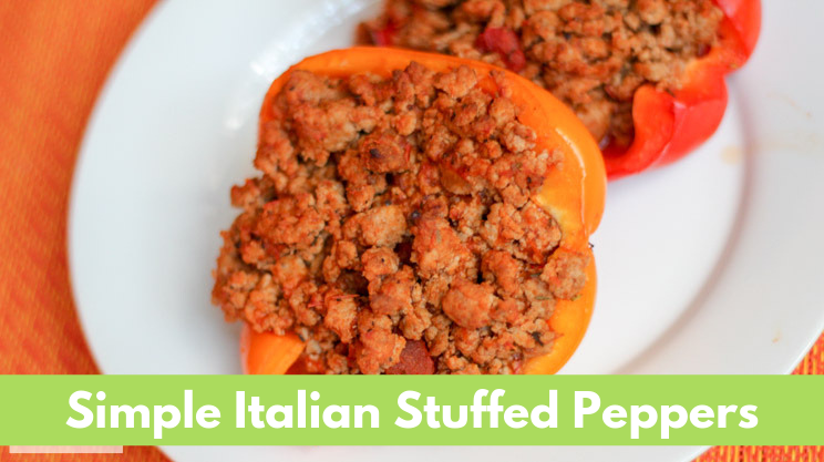 Simple Italian Stuffed Peppers with ground turkey marinara sauce baked in bell pepper