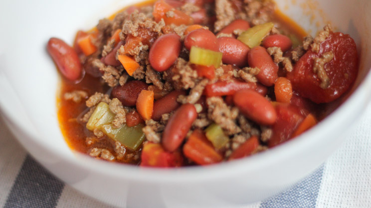 Beefy Chili Stoup, bariatric friendly recipe, Ground beef, chili beans, celery, carrots and chili powder