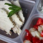 Greek chicken in a bento box for bariatric bento box with chicken greek yogurt dill dip cucumbers tomatoes