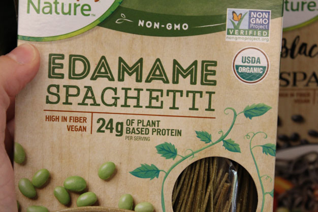 Edamame Spaghetti is pasta made with edamame flour for high protein alternative to spaghetti for bariatric surgery meal ideas from Aldi
