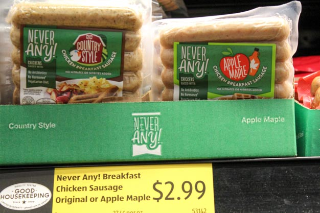 Never Any!® Breakfast Chicken Sausage in Country Style or Apple Chicken for bariatric surgery breakfast ideas from Aldi