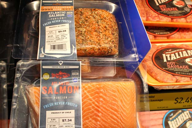 Fresh salmon fillet one with seasoning for bariatric surgery meal ideas from Aldi