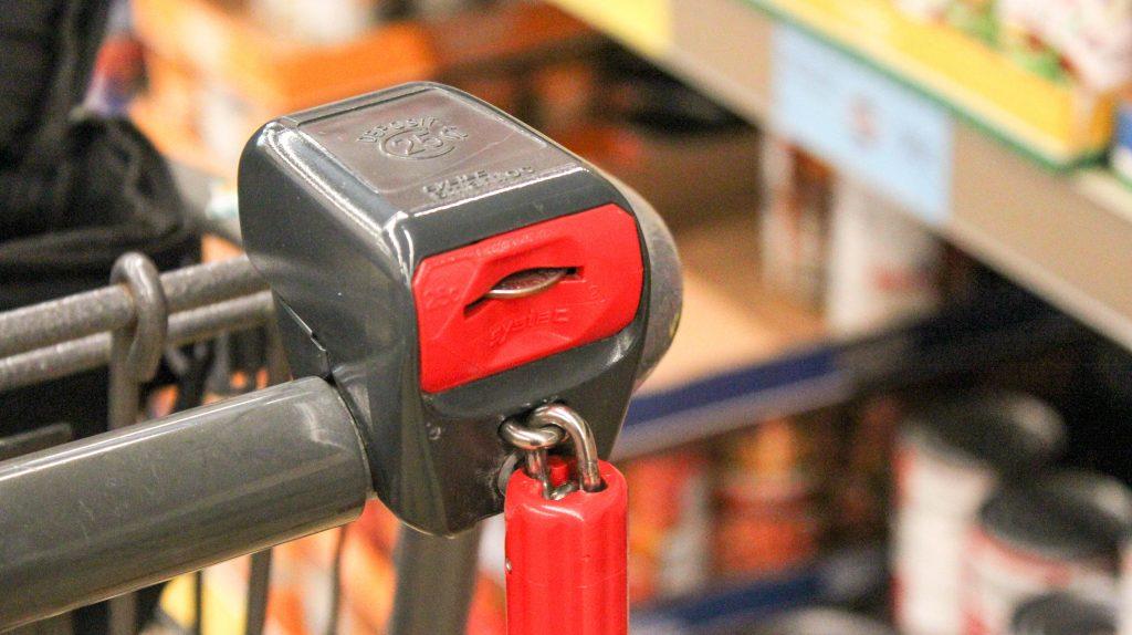 Quarter in Aldi Cart Blog Post Bariatric Grocery Shopping at Aldi