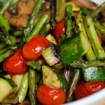 Grilled vegetable salad with asparagus zucchini cherry tomatoes mushrooms tossed with soy sauce and balsamic vinegar for bariatric side dish