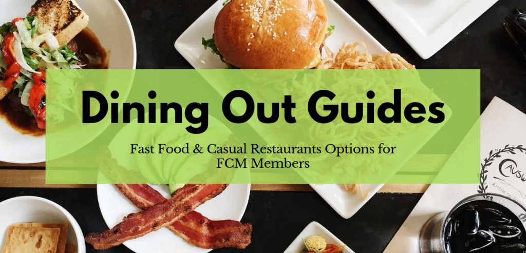 Link for FoodCoachMe Members resource dining out guide, eating out after weight loss surgery, several restaurants listed with high protein meal ideas