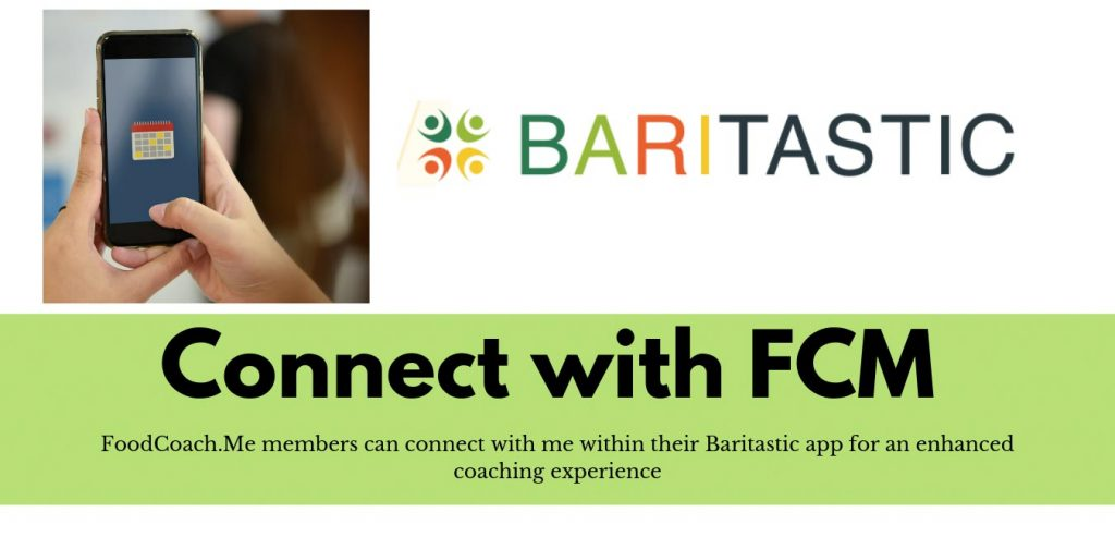 Members of FoodCoachMe bariatric nutrition website have access to connect on Baritastic food journal app