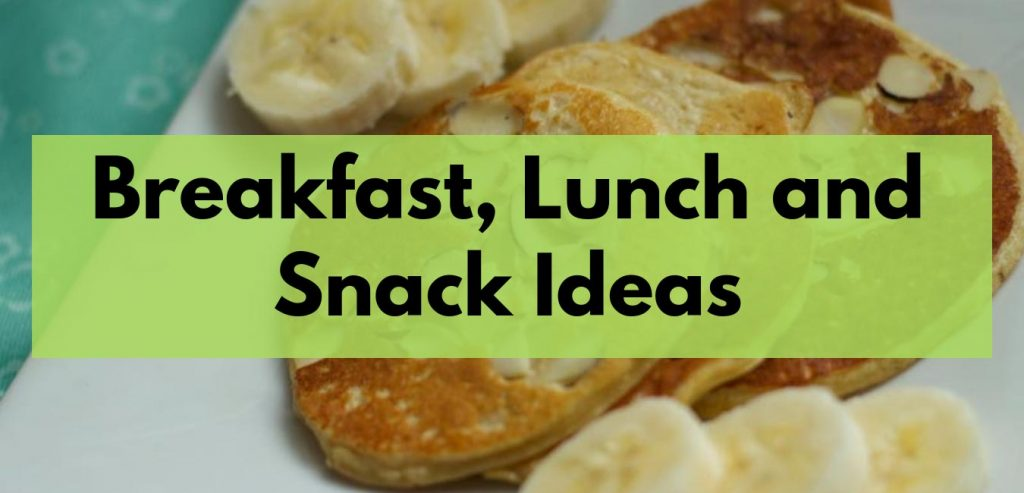 Breakfast lunch and snack ideas after weight loss surgery. Graphic image to show members resource for FoodCoachMe subscribers