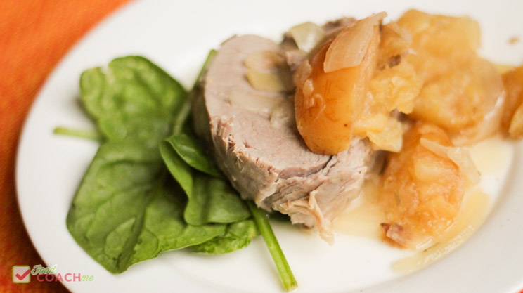 FoodCoachMe Members Recipe for Instant Pot Pork Tenderloin with Apples and Rosemary
