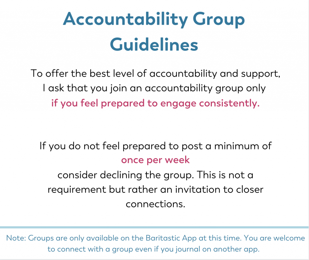 Accountability group guidelines for Get Focused Challenge for weight loss surgery patients