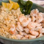 shrimp and cauliflower grits low carb bariatric recipe with lemon, shrimp, cauliflower