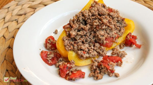 stuffed yellow pepper skillet with canned tomatoes ground turkey italian seasoning and yellow peppers baked on the stove and oven