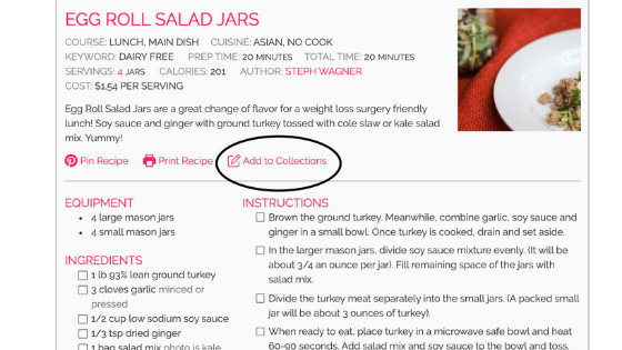 screenshot adding recipes to collections foodcoachme bariatric surgery recipes