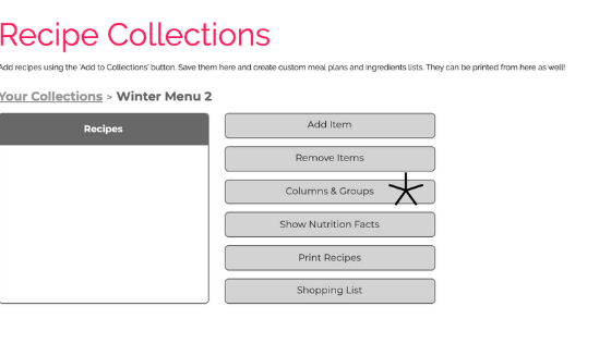 screen shot how to add recipes to collections on foodcoach.me