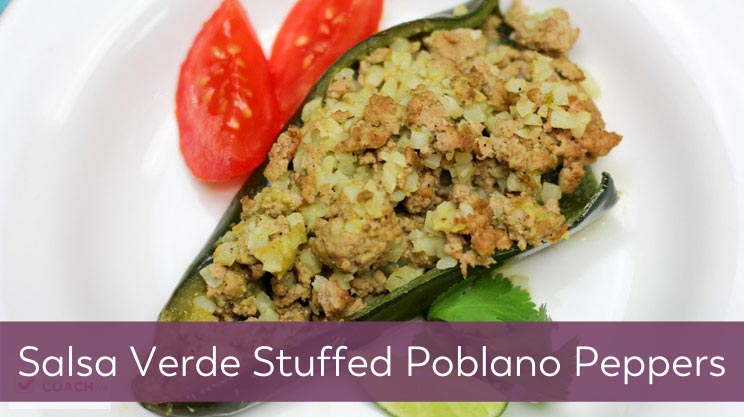 Salsa Verde Stuffed Poblano Peppers recipe on Bariatric Food Coach