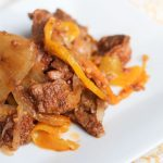 Slow Cooker Beef Fajitas with bell peppers, onion and thinly sliced sirloin steak